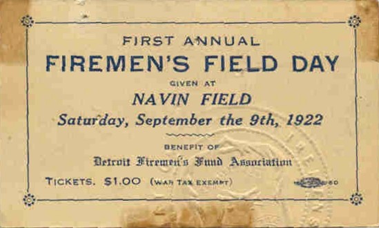Ticket from the 1922 (First Annual) Detroit Firemen's Field Day