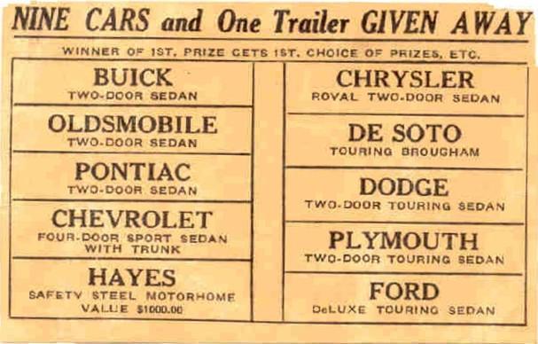 Detroit Firemen's Field Day ticket 1937 (back)