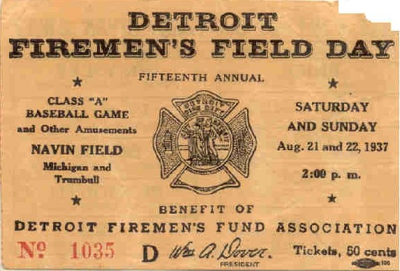 Detroit Firemen's Field Day Ticket from 1937 (front)
