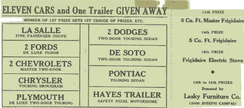Detroit Firemen's Field Day Ticket from 1938 (back)