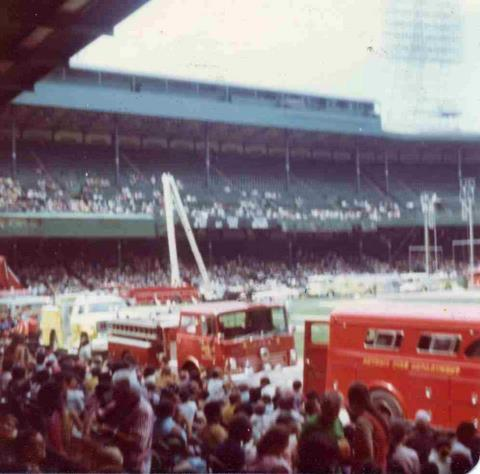 Apparatus Parade from the 1974 Field Day held at Tiger's Stadium