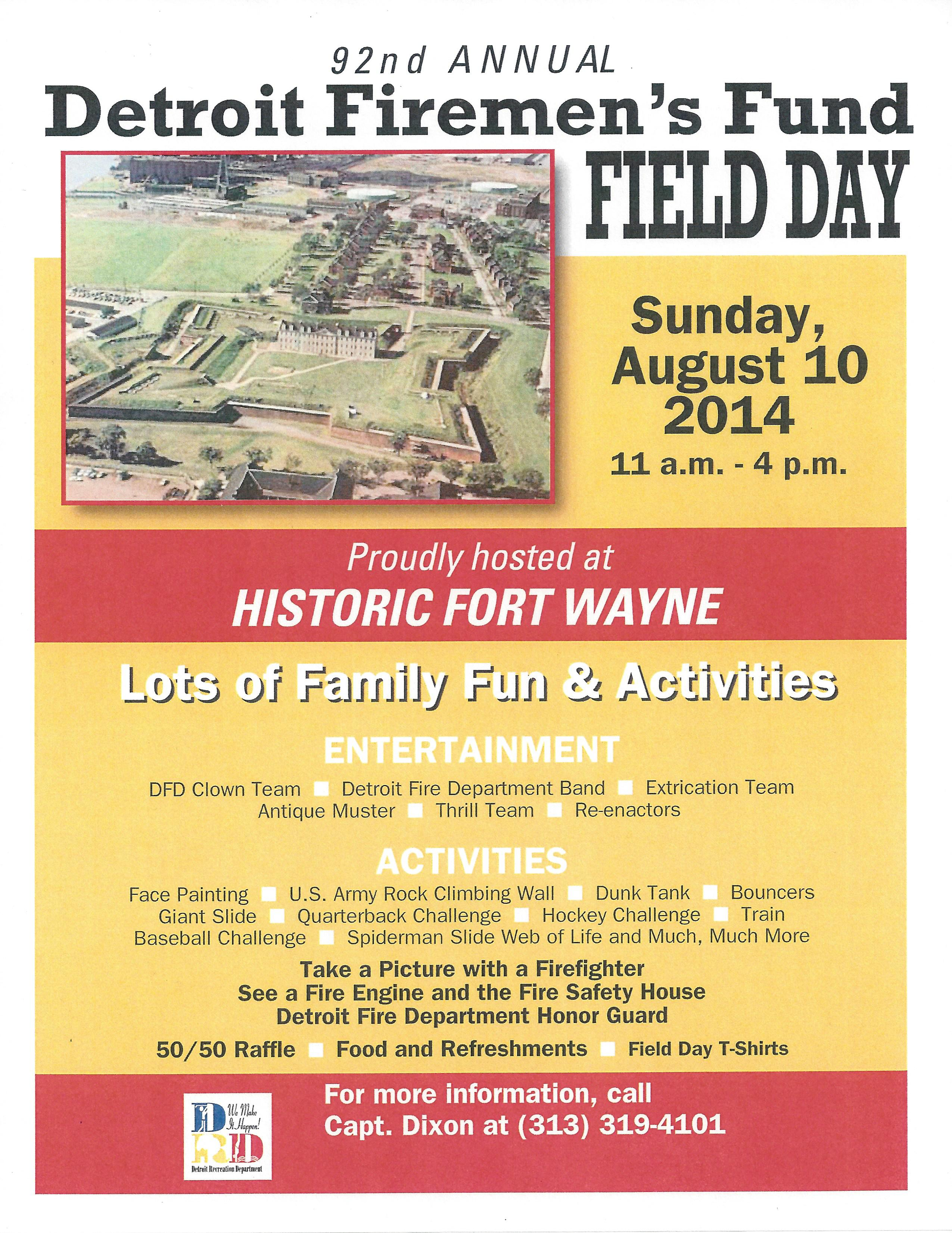 Detoroit Firemen's field day 2014 flyer