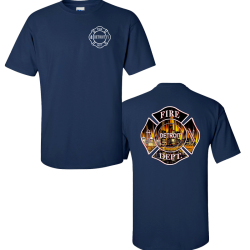 Detroit Fire Department Official Duty Shirt Maltese Skyline Design