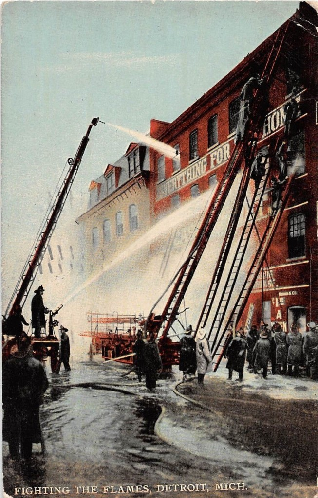 1911 postcard fighting the flames