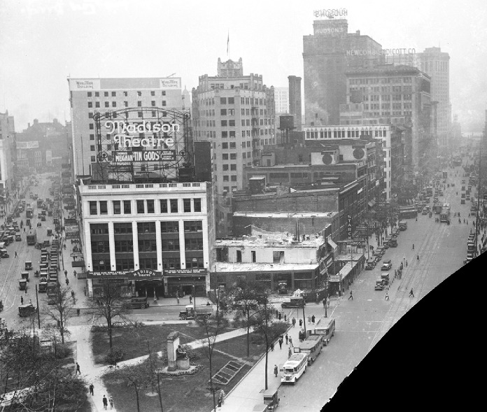 Madison Theater in 1926. The Gladwin Building next door was being torn down to make way for what is now the Broderick Tower.